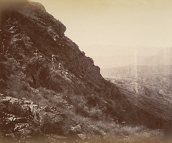 Khyber side of Sarkai Hill, looking south. Officers of the (Q.O.) Guides reconnoitring.